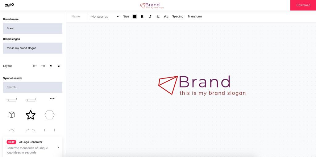 creador de logos de Zyro
