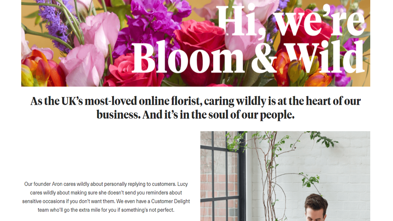 Bloom & Wild about page