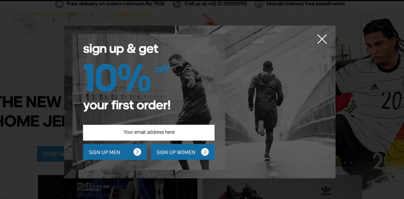 adidas signup email form