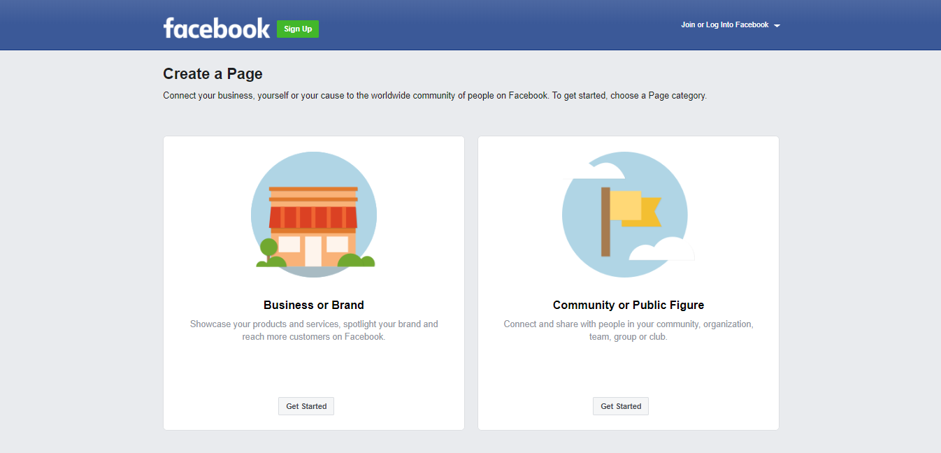 Facebook create a business page sign up window.