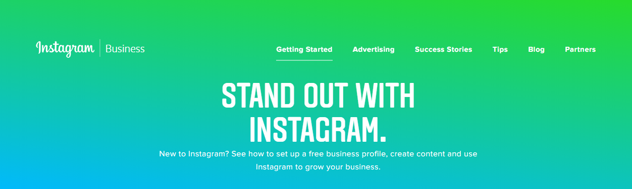 Instagram business homepage.