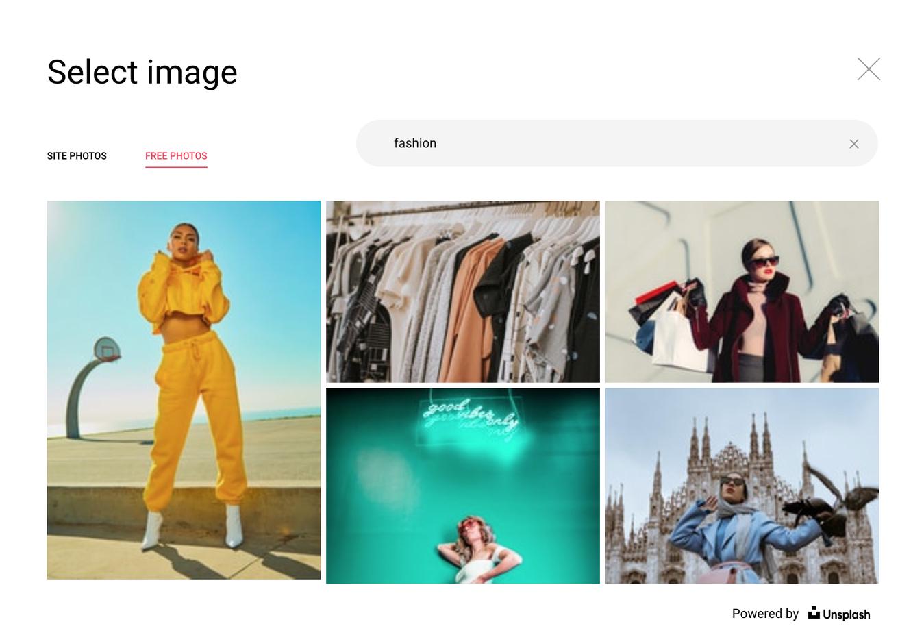 Unsplash Images on Zyro