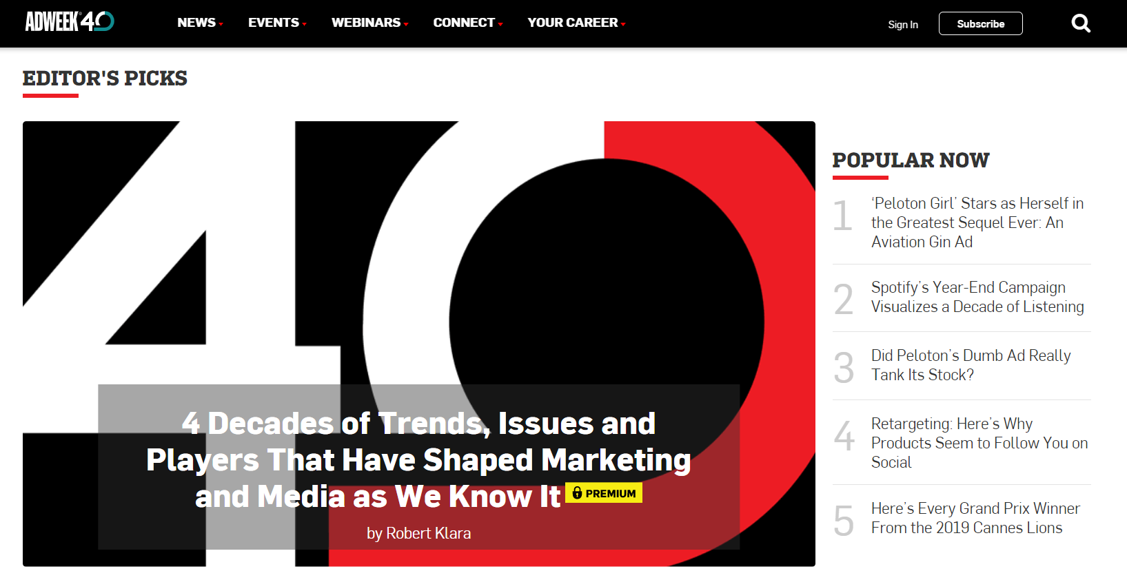 Adweek homepage