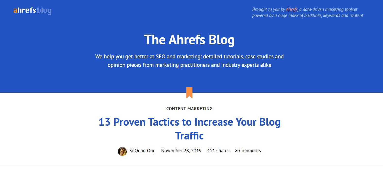 Ahrefs homepage