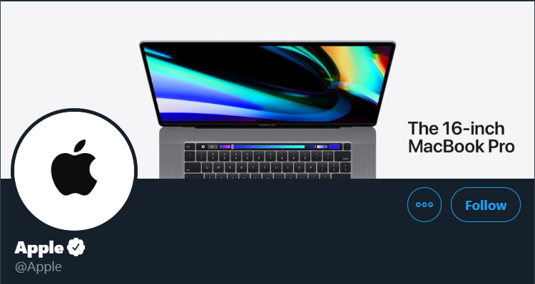 Apple ad for 16-inch MacBook Pro alongside their logo