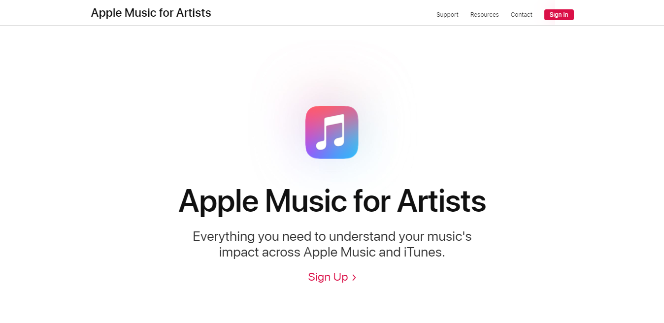 Apple Music for Artists landing page