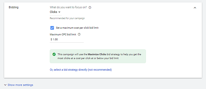 Example of selecting your small business website bidding to advertise on google