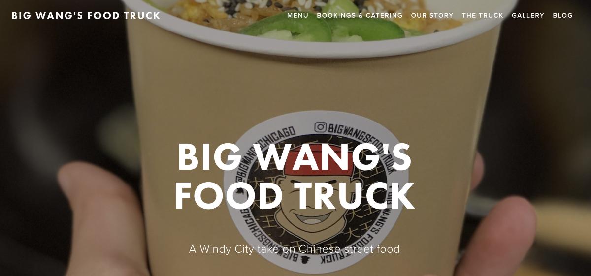 Big Wang's food truck  business website