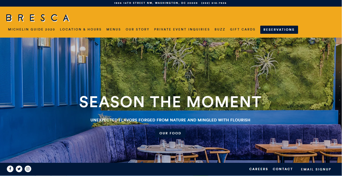Bresca restaurant website showing comfy blue wrap around couch and tables