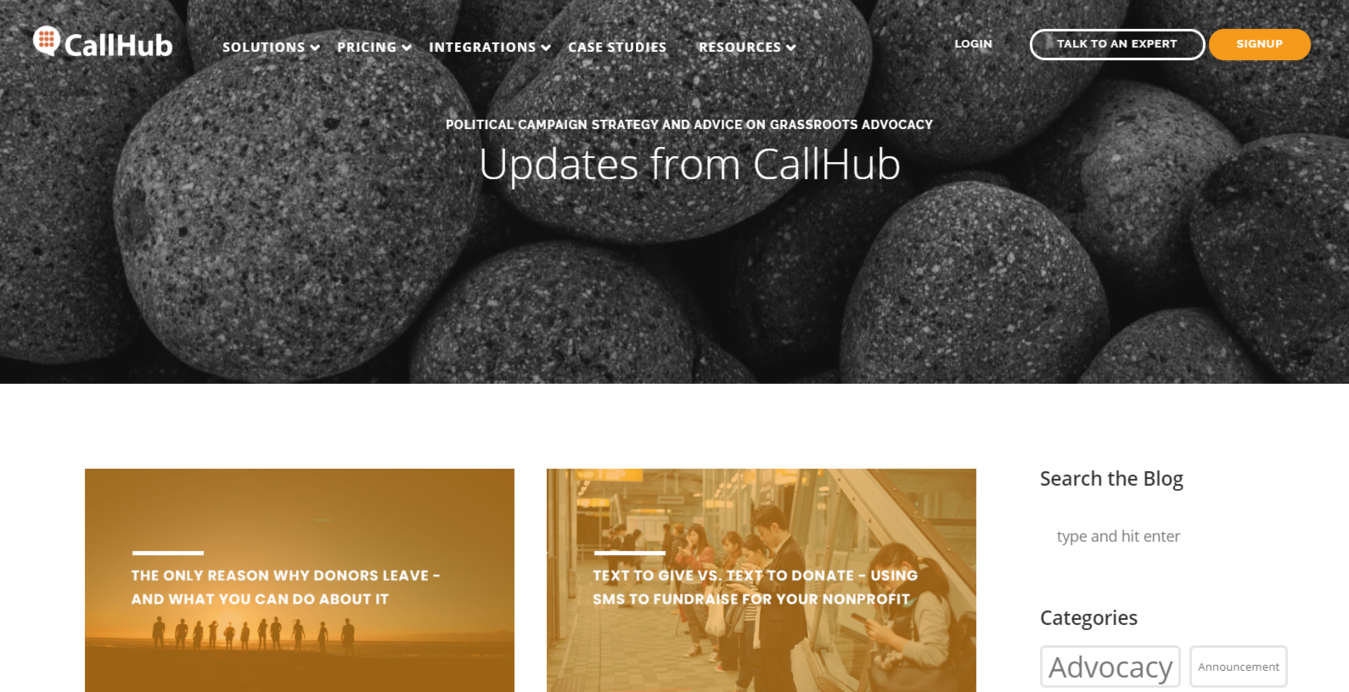 CallHub Blog homepage