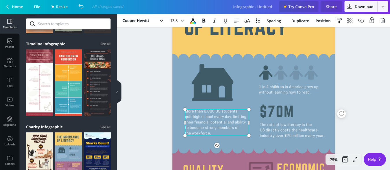Canva infographic editor text editing feature
