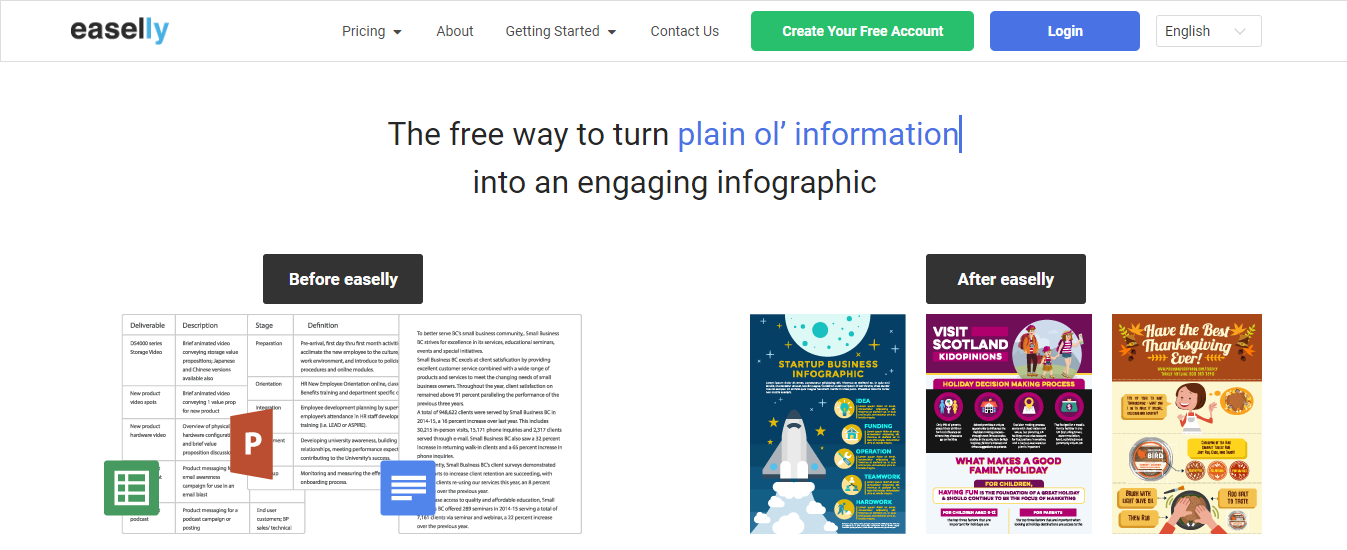 Easelly infographic landing page