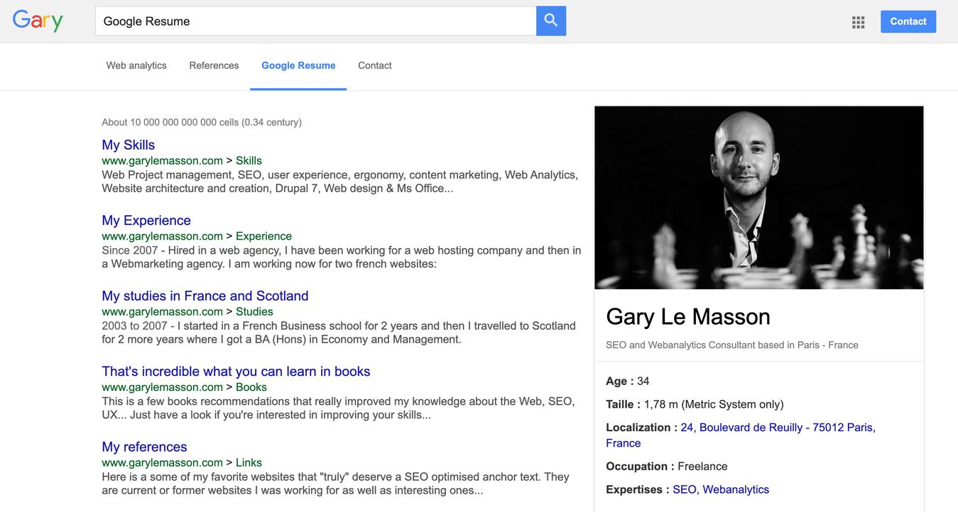 Gary Le Masson's Resume Tab