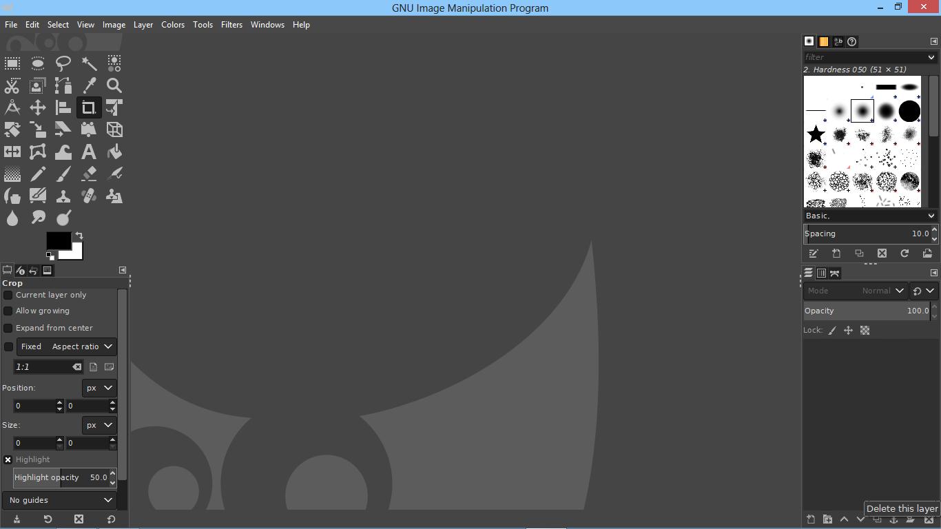 Interfejs programu do obróbki zdjęć GIMP