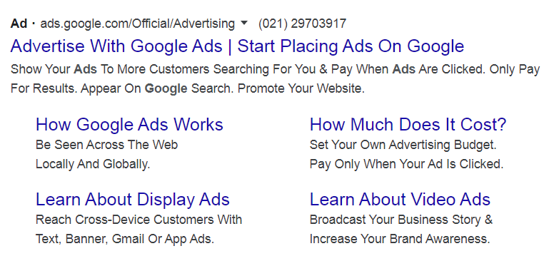 An example of a sponsored Google d