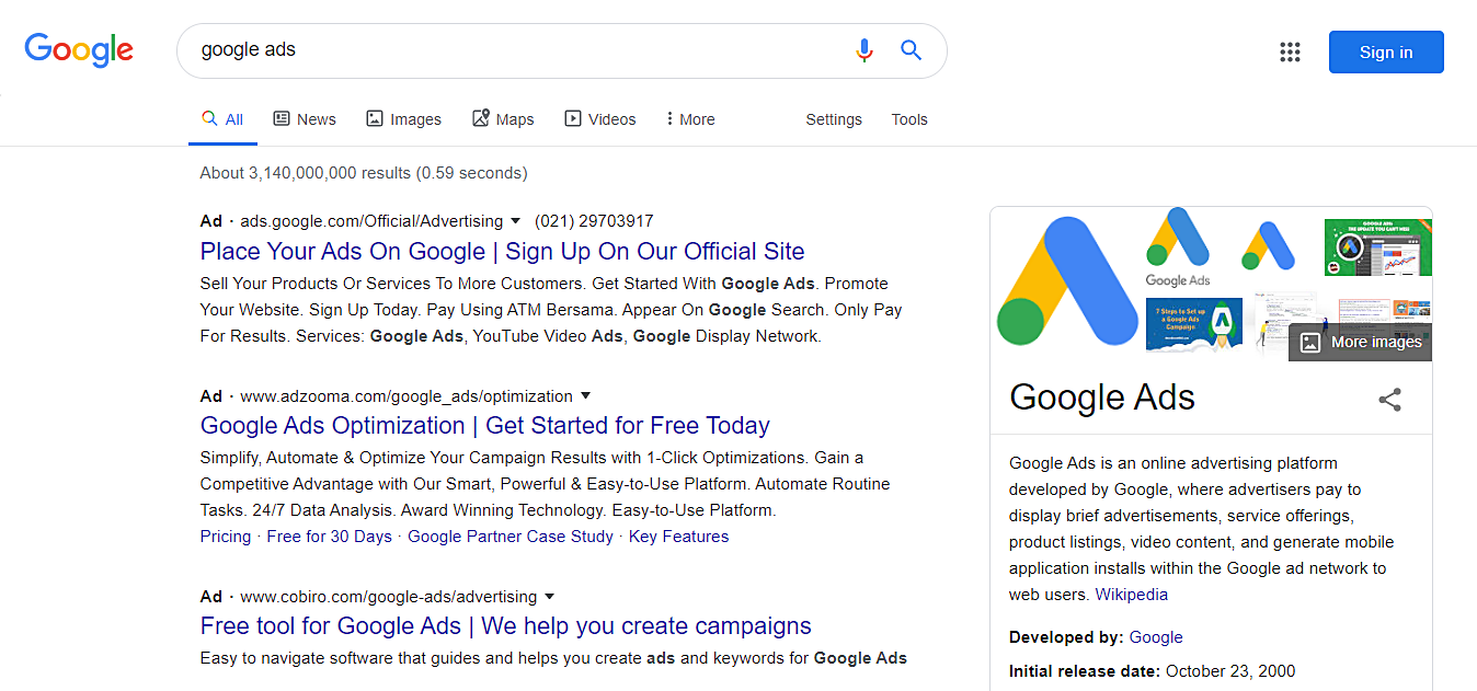 Example of google ads showing at the top of the website result page