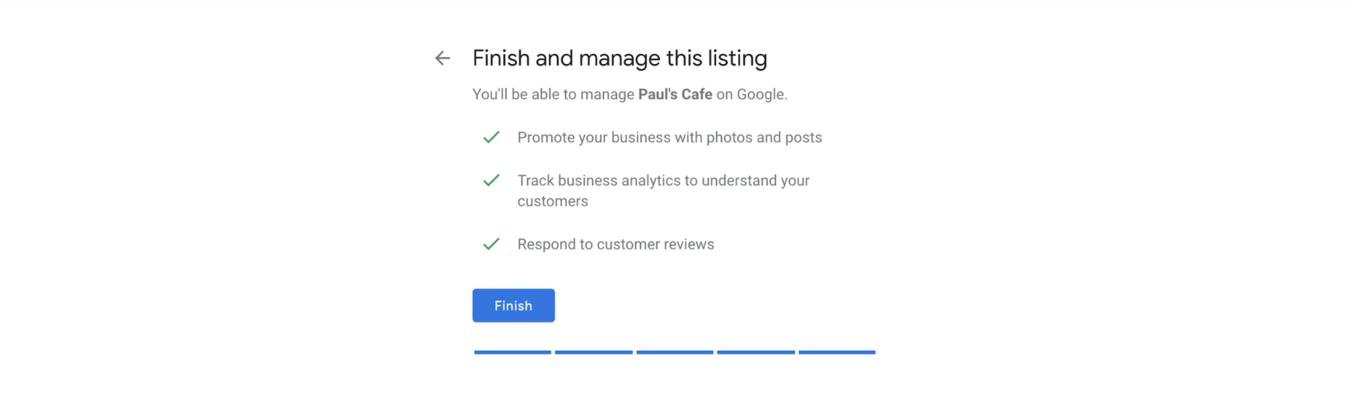 Google My Business finishing page
