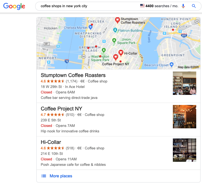 Google my business search listing