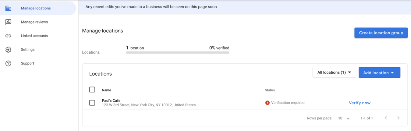 Google My Business location management page