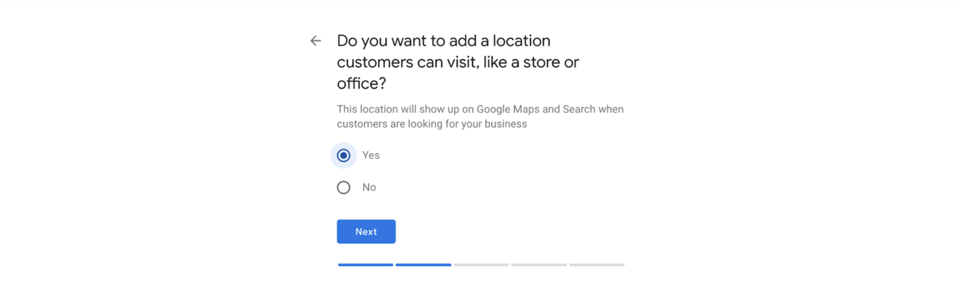 Google My Business location entry form