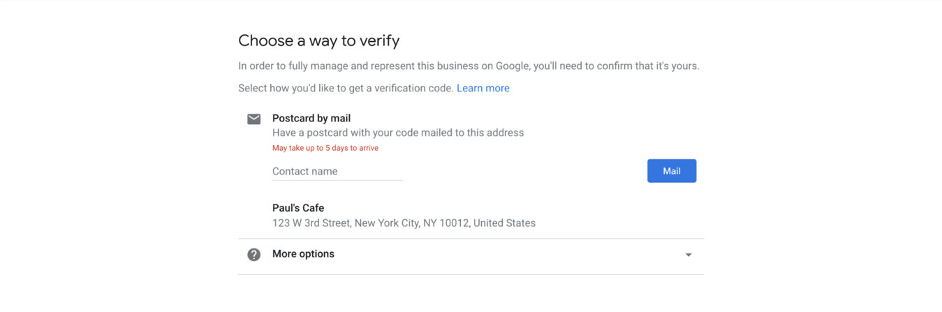 Google My Business verification form