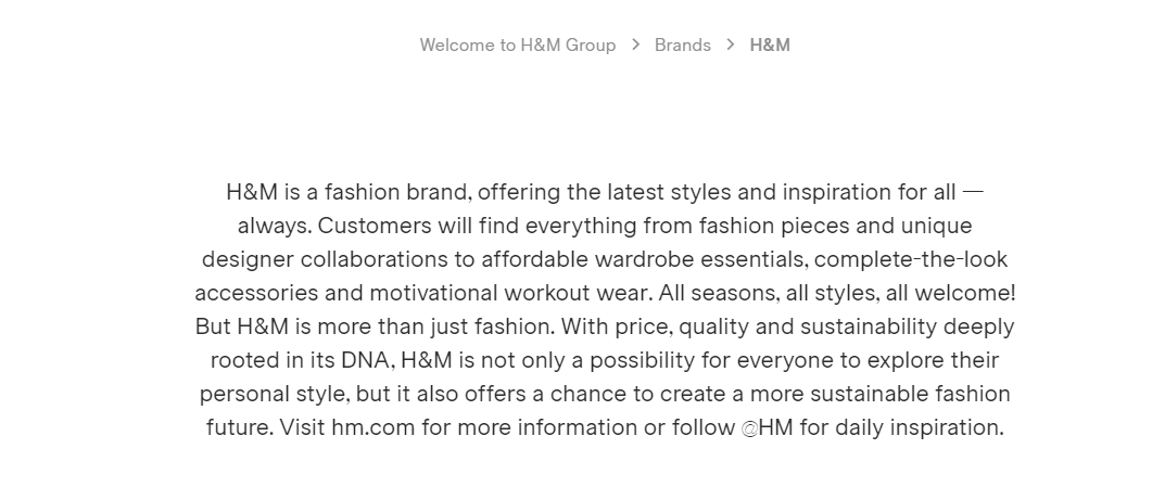 H&M uses price as their value proposition