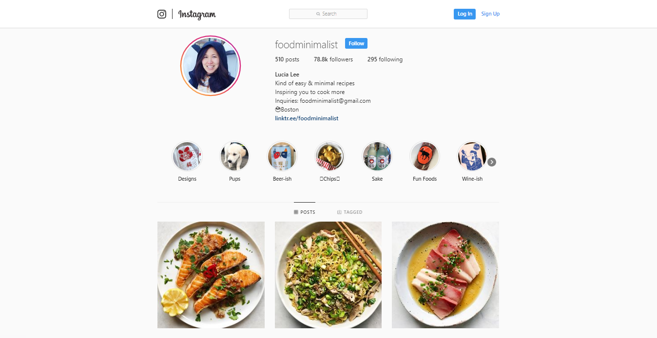 An instragram page for foodminimilast and three pictures that are of salmon, rice and tuna. if you don't know how to market a restaurant do reach out to influancers