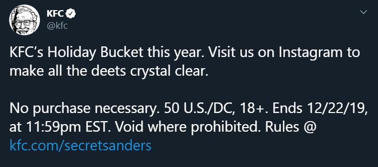 KFC's tweet about Holiday Buckets