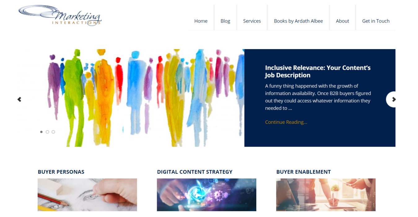 Marketing Interactions homepage