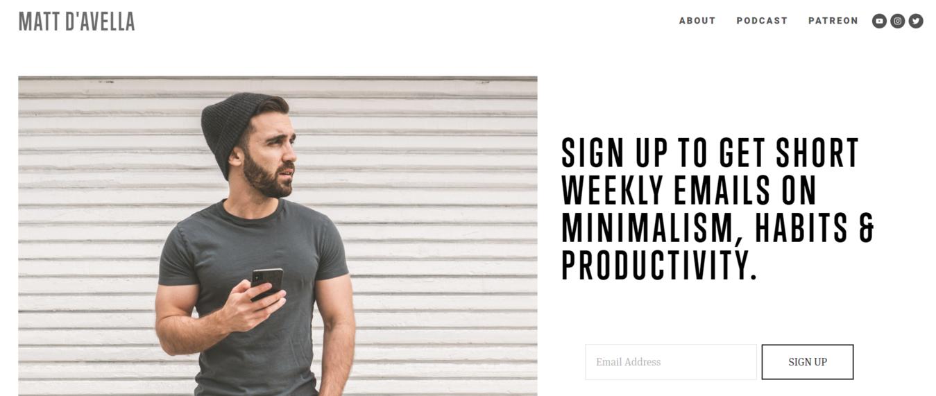 Matt D'avella's website homepage