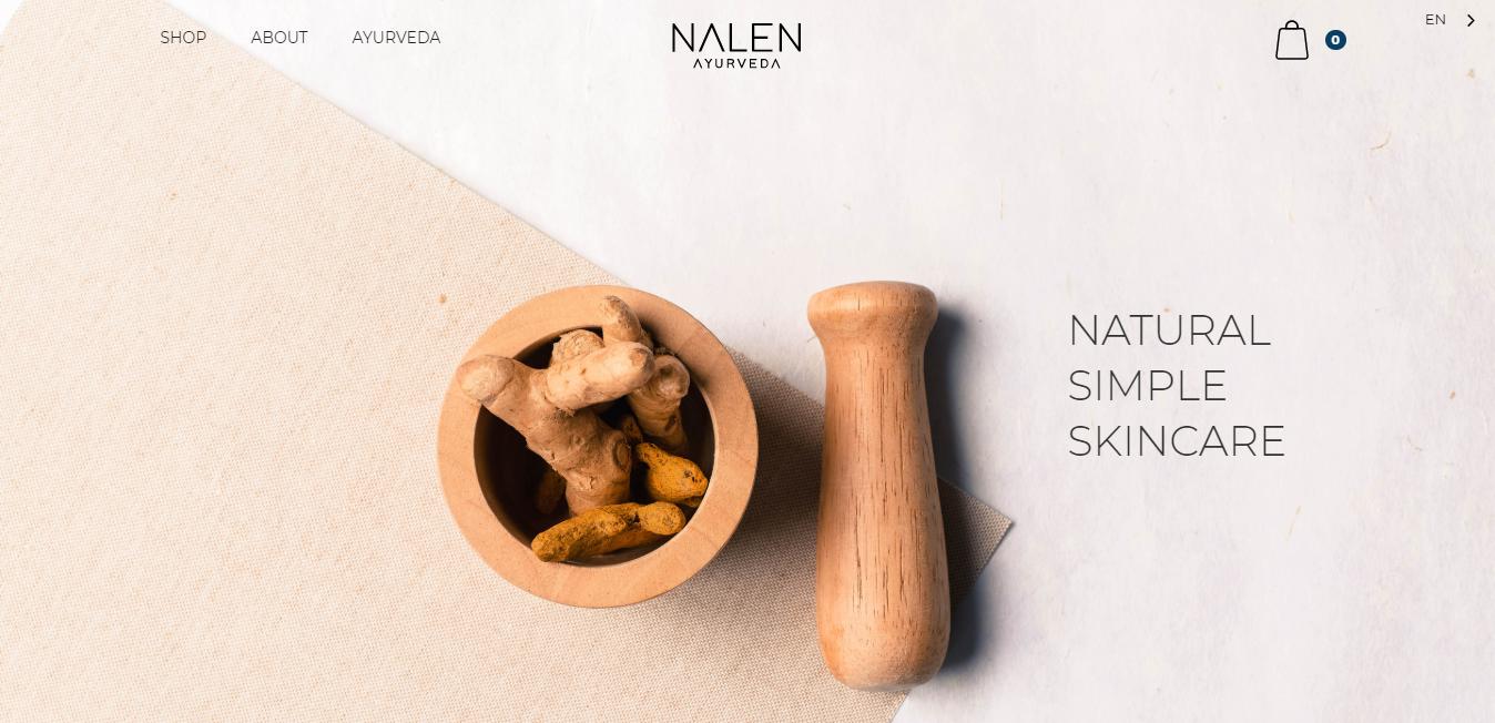 Ejemplo de sitio web de cuidado de la piel natural con un tazón de jengibre