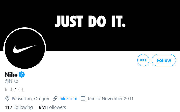 Nike's Twitter profile page