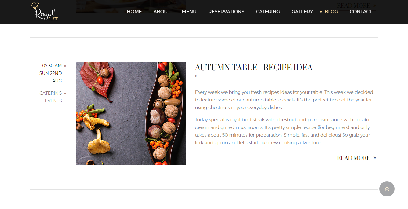 royal plate restaurant website blog page showing a recipe idea