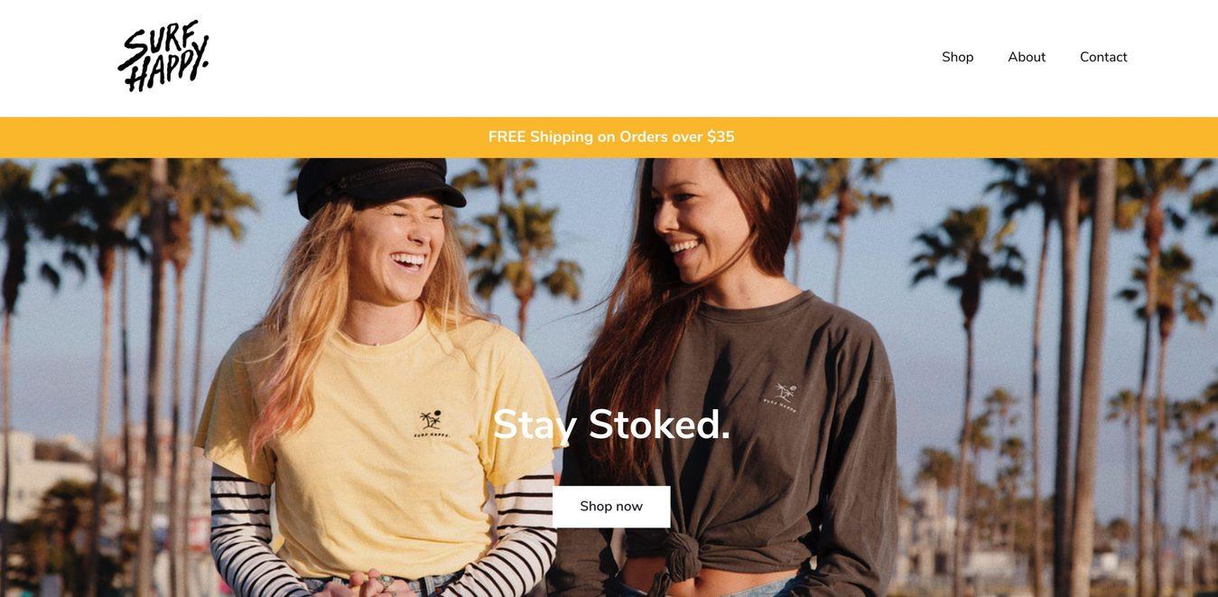 Captura de pantalla de la página de inicio del sitio web Surf Happy
