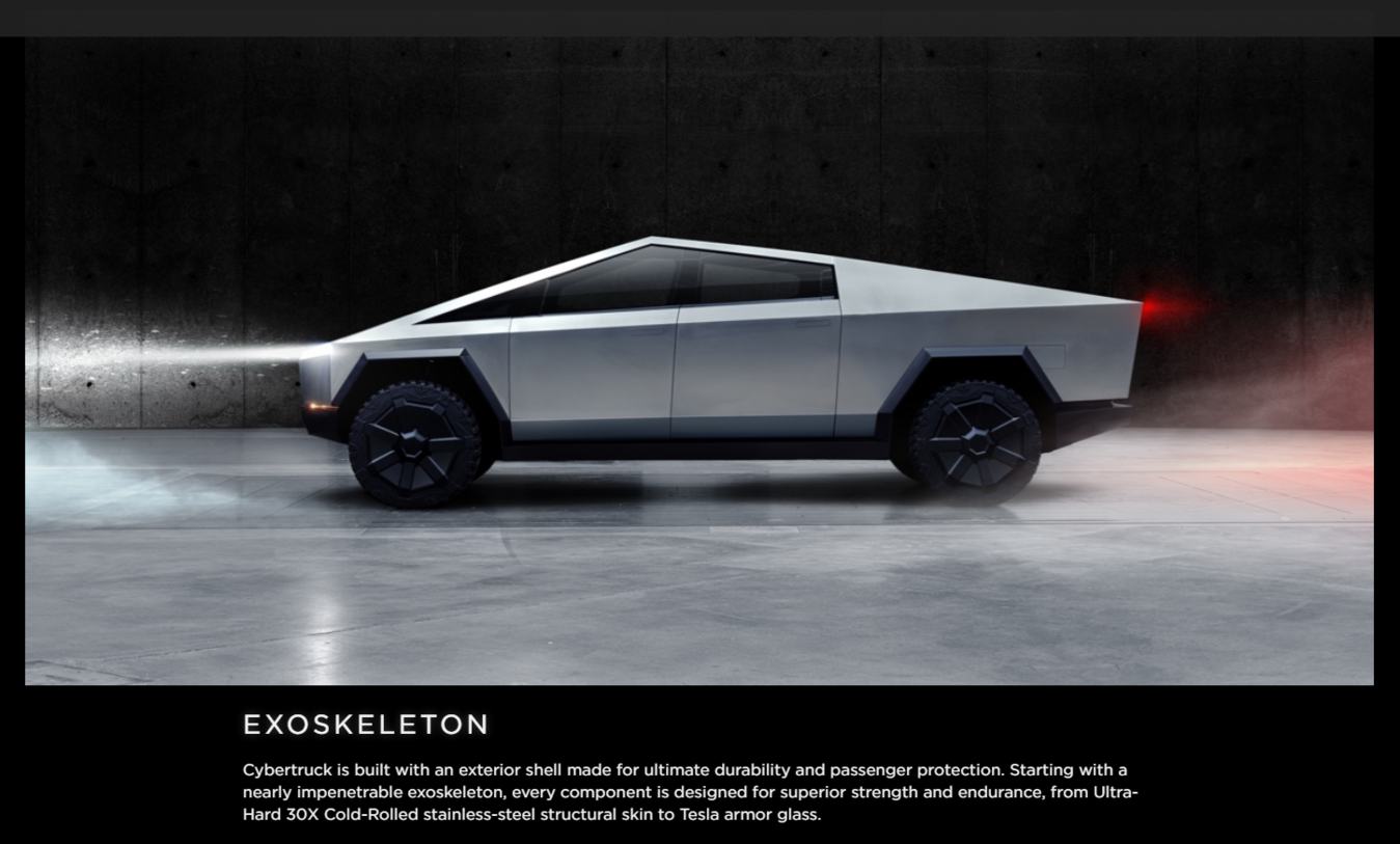 Tesla Cybertruck's exoskeleton design as its value proposition