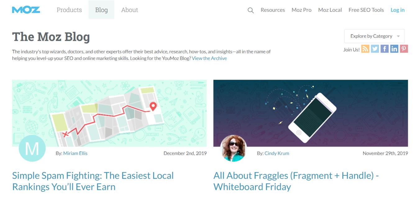 The Moz Blog homepage