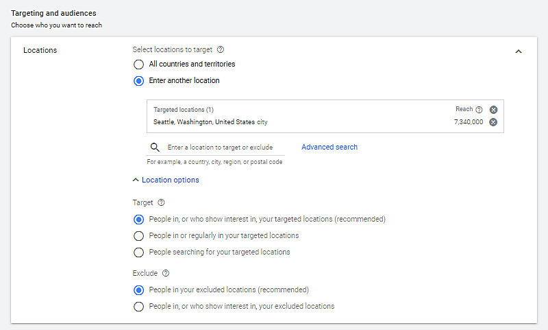 Example of selecting your small business website target and audiences to advertise on google