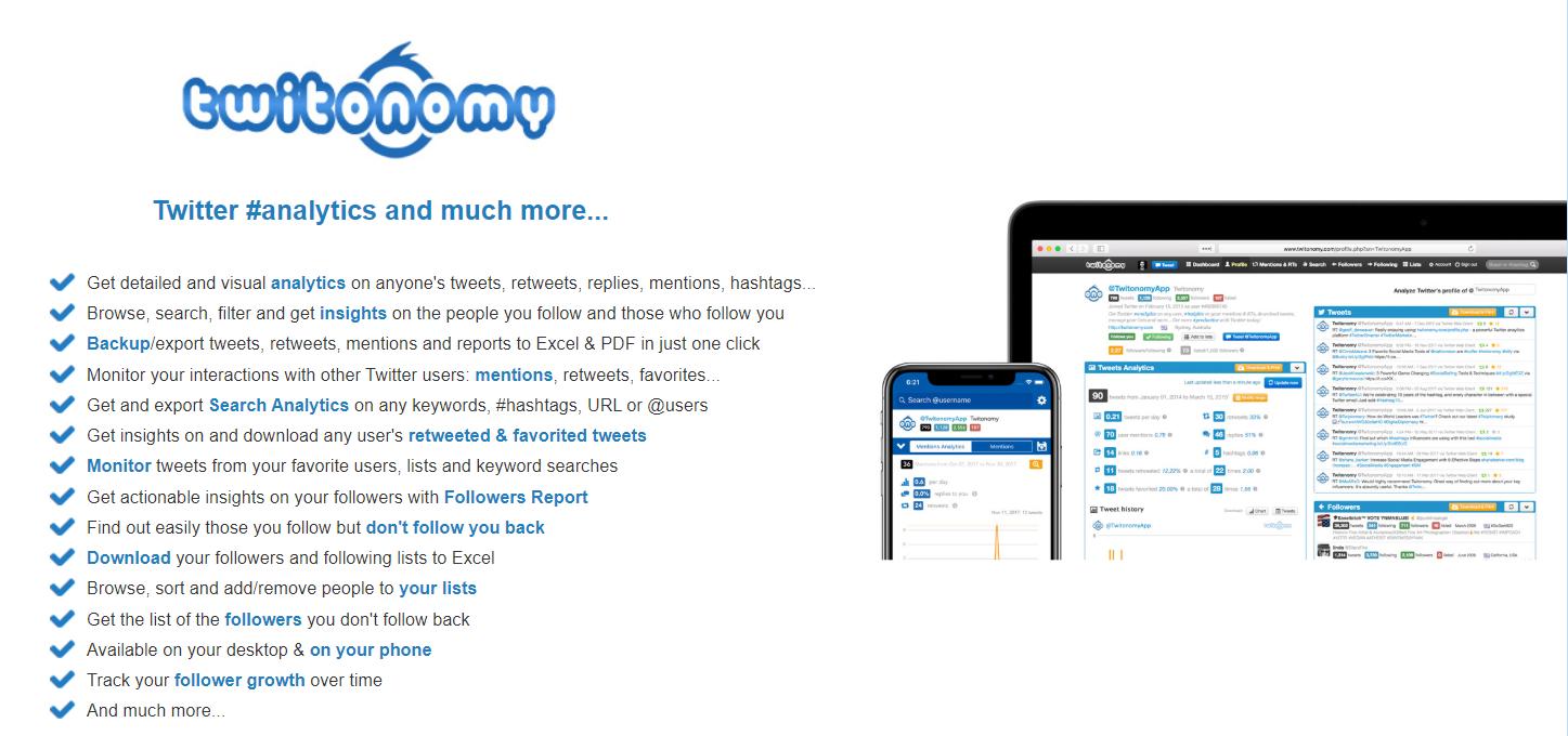 Twitonomy's landing page