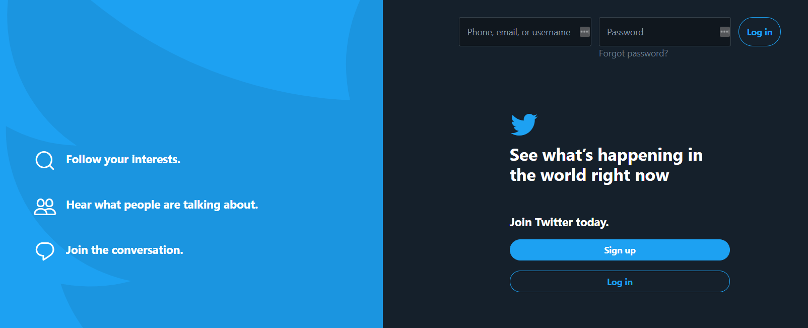 Twitter's page for signing up