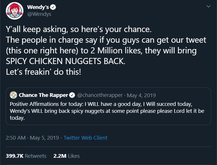 Wendy's spicy chicken nugget tweet