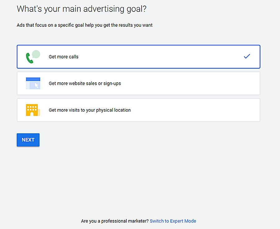 Example of selecting your small business's website main advertising goal to advertise on google