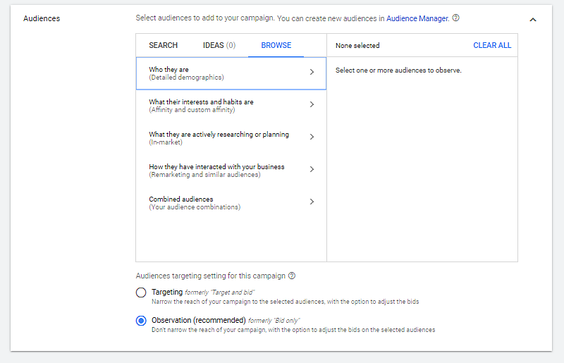 Example of selecting your small business website criteria of target audience to advertise on google