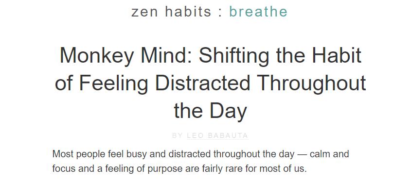 Zen Habits homepage