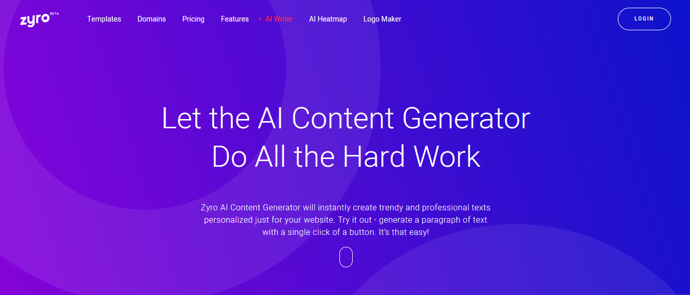 Zyro's AI content generator example and login page