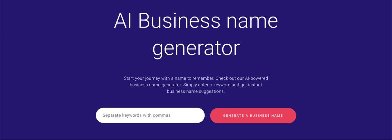 Zyro AI Business name generator page