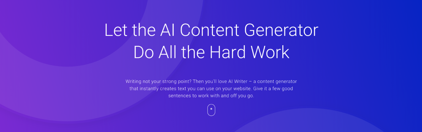 Zyro AI Content Genrator page