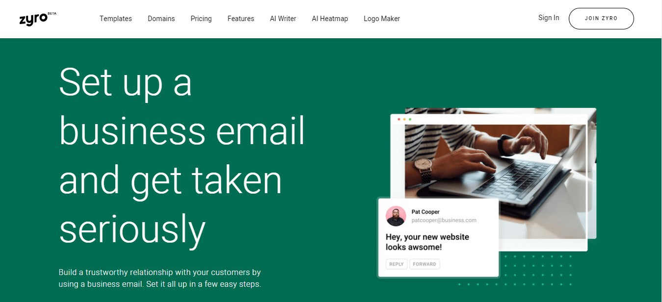 Zyro's landing page to set up a professional email
