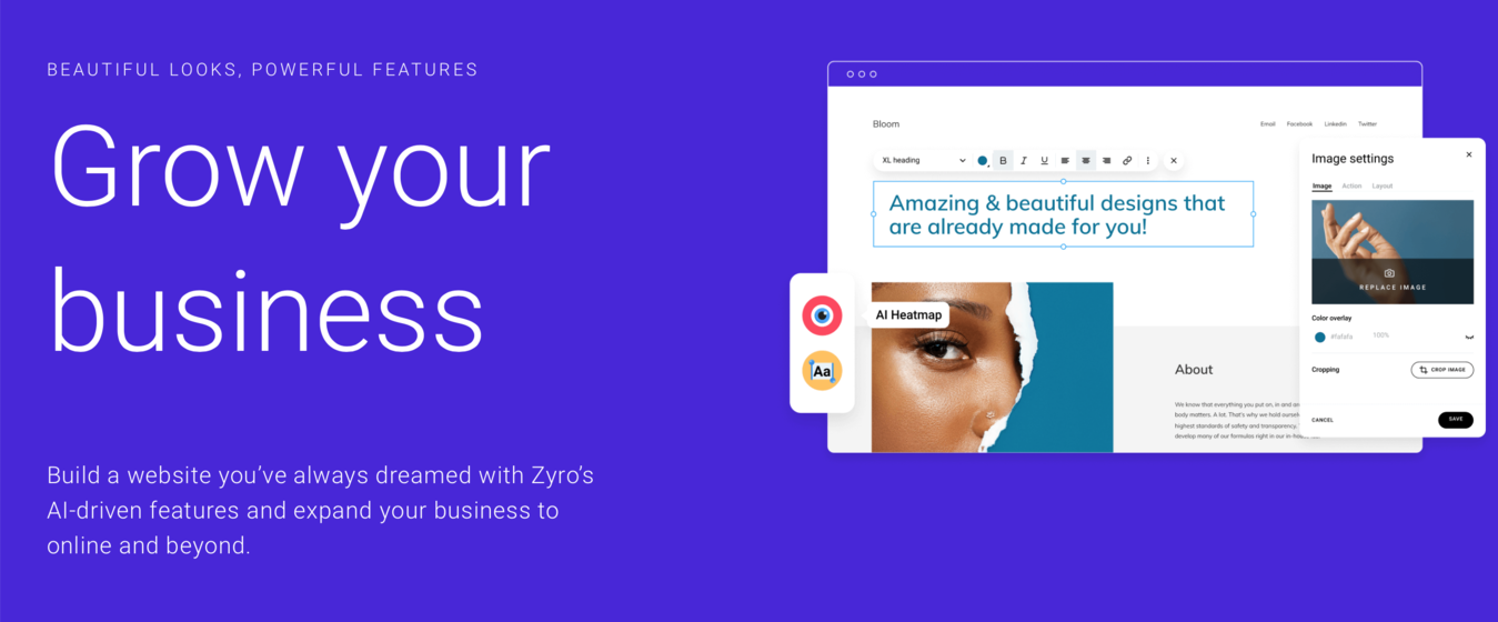 Zyro landing page for Event Planning Business