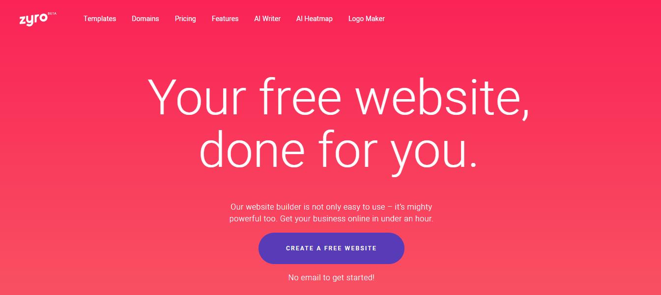 Zyro Website Builder's landing page