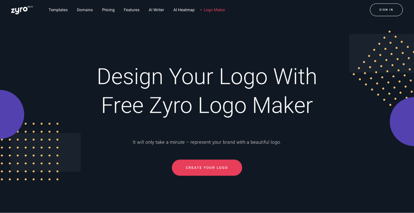 zyros landing page to design your free logo for a cleaning business